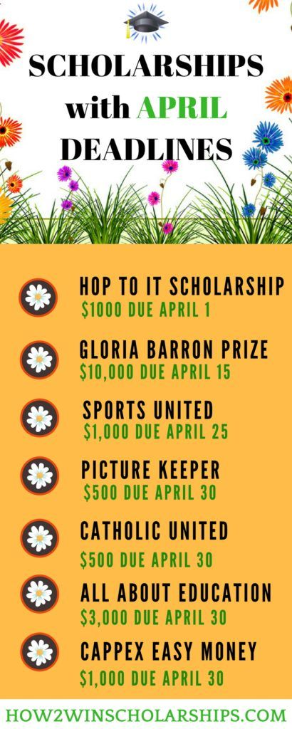 College Scholarships with April Deadlines - Save this list of April Scholarships! #college #scholarships #ScholarshipMom