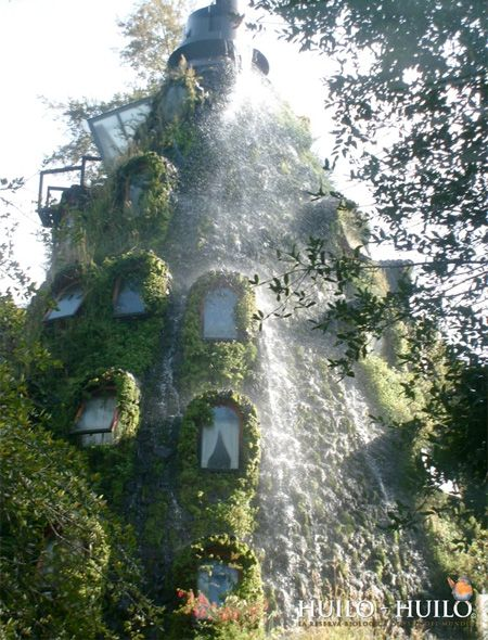 Unique hotel in southern Chile was designed to look like a beautiful volcano mountain with integrated waterfall.