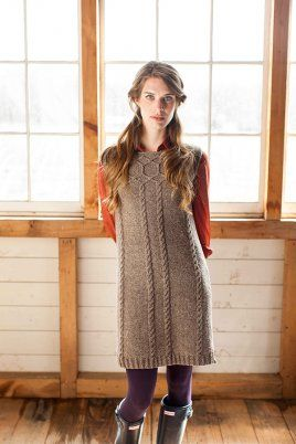 BrooklynTweed Amherst cabled sweater dress pattern