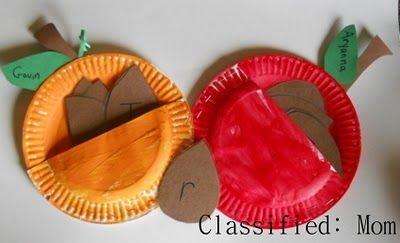 Apples:  paper plate apple pocket with seeds labeled with letters from child's name