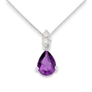 0.06 Carat SI Diamond with Amethyst Pendant Necklace in 9ct White Gold 45 cm extender