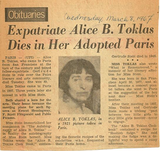 """When Alice B. Toklas's obituary appears in The Montreal Star on March 8, 1967, it has a profound impact on the Sara of Sara's Year: """"I read that obituary and I remembered. I remembered my dreams."""" Find out how Sara discovers that it's never too late to reignite her abandoned dreams, in this award-winning book • http://www.markdavidgerson.com/books/sarasyear"""