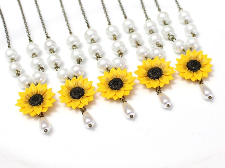 Set of 3. 4. 5. 6. 7. 8. Sunflower Necklace, Yellow Sunflower Bridesmaid, Flower and Pearls Necklace, Bridal Flowers, Bridesmaid Necklace by NikushJewelryArt on Etsy