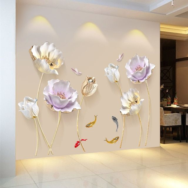 Chinese Style Flower 3D Wallpaper Wall Stickers Living Room Bedroom Bathroom Hom…