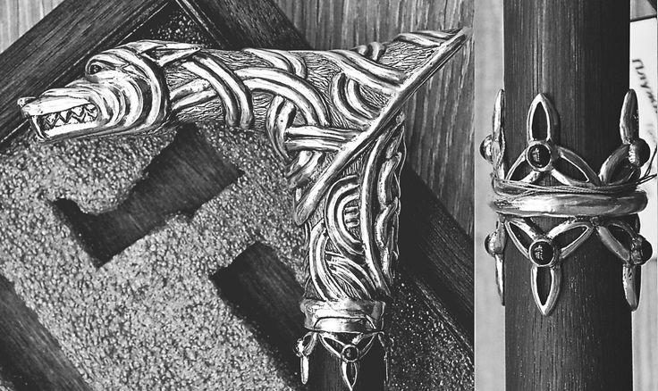 Моя дипломная работа. Разборная трость, серебро, чёрные агаты, чёрное дерево. #wolf #silver #blackagate #walkingstick