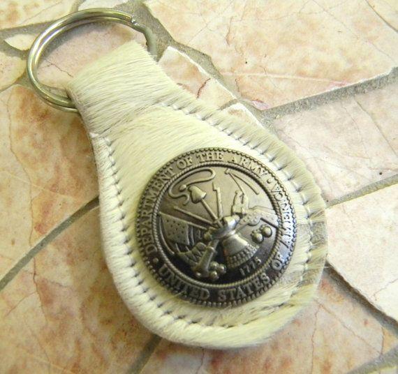 Army Concho Keychain Army Key Fob Key Ring Army by StepOriginals