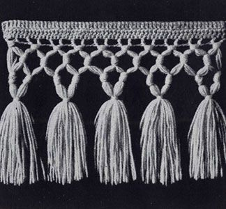 No. 4 Triple Knot Fringe with Tassels pattern from Stoles & Shrugs, originally published by American Thread Co, Book No. 103, in 1953.