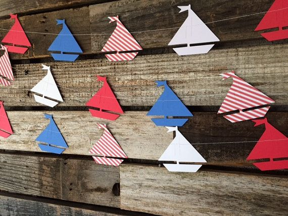 Nautical Sailboat Party Garland - Nautical Decor, Nautical Baby Shower, Photo Prop, Birthday Party, First Birthday