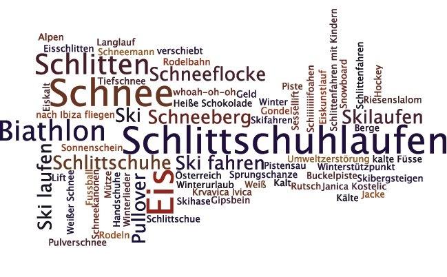 Wintersport - Deutsch Wortschatz Wordle maken met Duitse woorden in 1 thema!