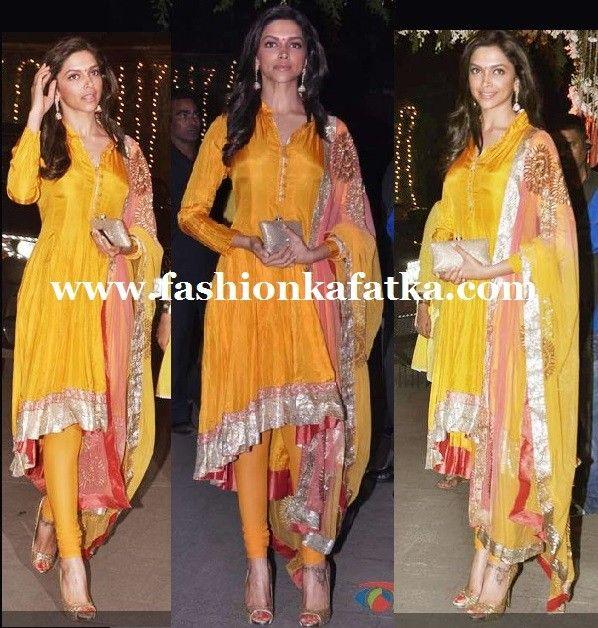 Deepika Padukone In Silky Smooth Anarkali,Yellow & Pink Anarkali suit,silk & georgette Anarkali suit,buy anrkali online