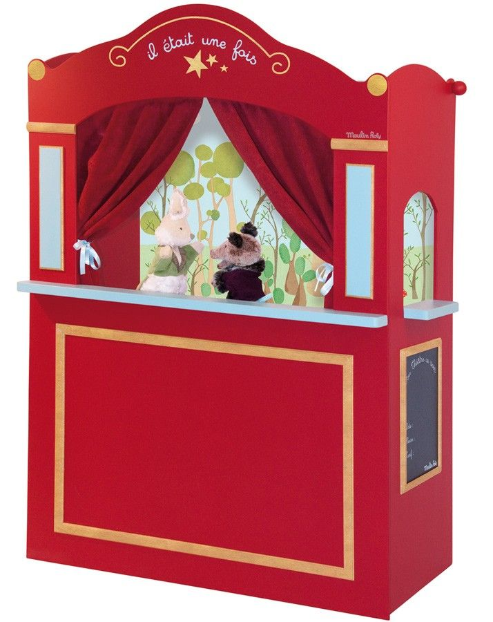 Moulin-Roty Puppentheater aus Holz für Handpuppen rot