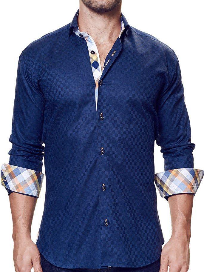Wall Street Navy Check Orange | Dress Shirt LS