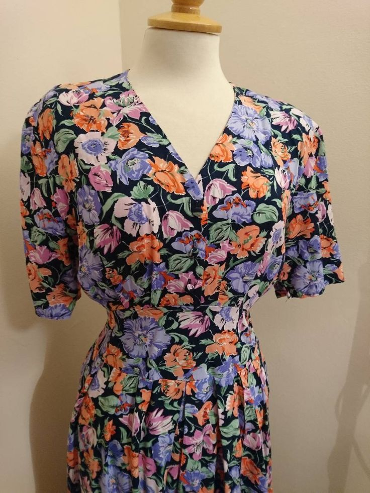 Excited to share the latest addition to my #etsy shop: 1980s 80s / early 90s does 1940s 40s vintage dress Poppies tulips tea dress BHS UK Size 12 - 14 tulip skirt spring summer http://etsy.me/2EH1cpj