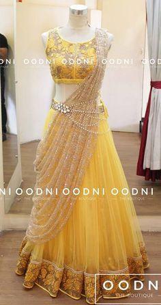 nice For hurdee night...Indian fashion. Yellow lehenga choli....