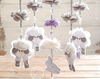 Hippo Baby Nursery mobiel GRATIS FEDEX DELIVERY Mint door LollyCloth