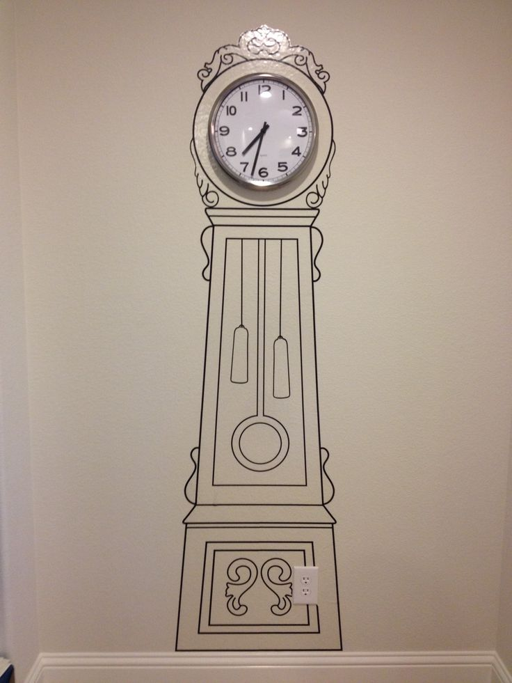 Old school wall decal grandfather clock with a real clock for Clock wall mural