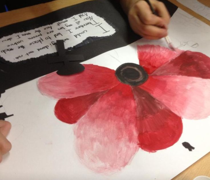 Art class creating Remembrance Day art