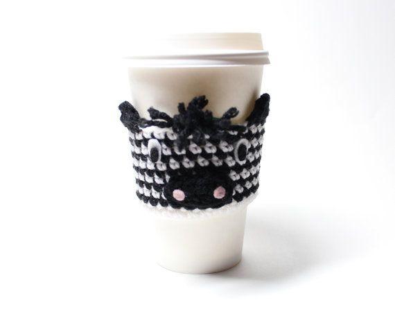 Zebra Coffee Cozy Crochet Coffee Sleeve Animal by MsAmandaJayne, $15.00