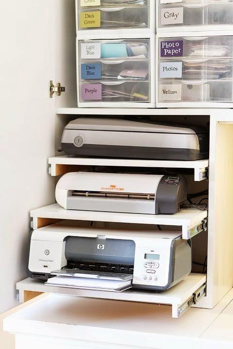 impresores dins de moble amb baldes extraibles Trabajando desde Casa...10 Ideas para inspirarnos | Decorar tu casa es facilisimo.com