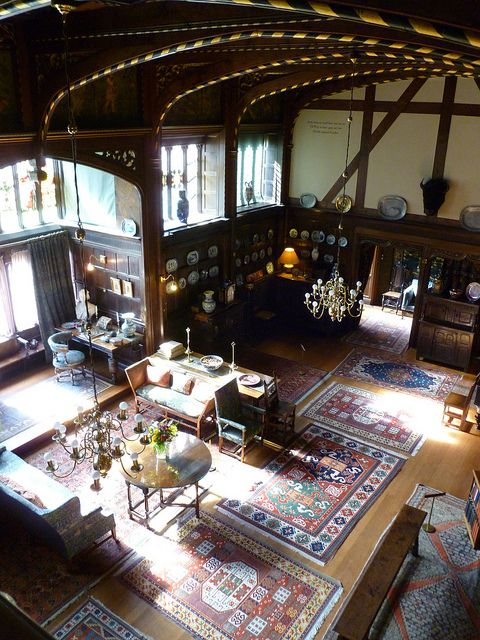 Interior of Wightwick Manor, Staffordshire: showing use of Morris furniture, rugs, and textiles.