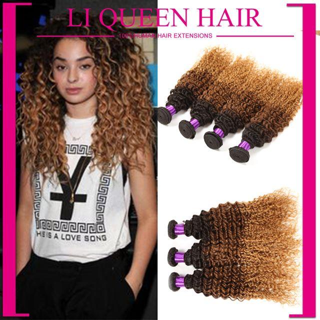 6A Ombre Hair Extensions Brazilian Curly Virgin Hair Ombre Deep Wave Cheap Price 5pcs Ombre Brazilian Human Hair Weave Bundles