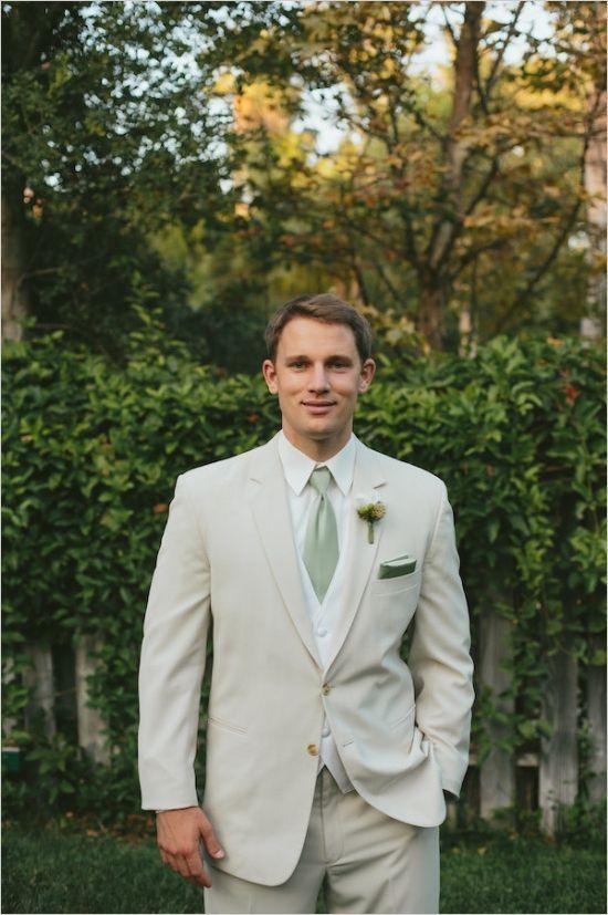 Groom or groomsman in beige and sage green attire. Fall 2015- Pantone Color Report: Desert Sage | letterpress wedding invitation blog