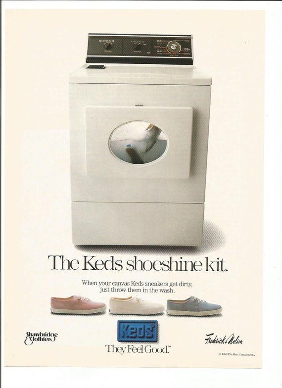 1990 Advertisement Ked S Shoes Runners Sneakers Trainers Shoeshine Kit Washing Machine White 90s Foo Keds Shoes Keds Shoes Ads