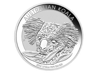 1/10oz Silver coin in card. From one of Australia's favourite series, the new Australian Koala 1/10oz silver coin portrays this year's delightful koala design. Delicate frosting graces the table of this beautiful coin. #coincollecting