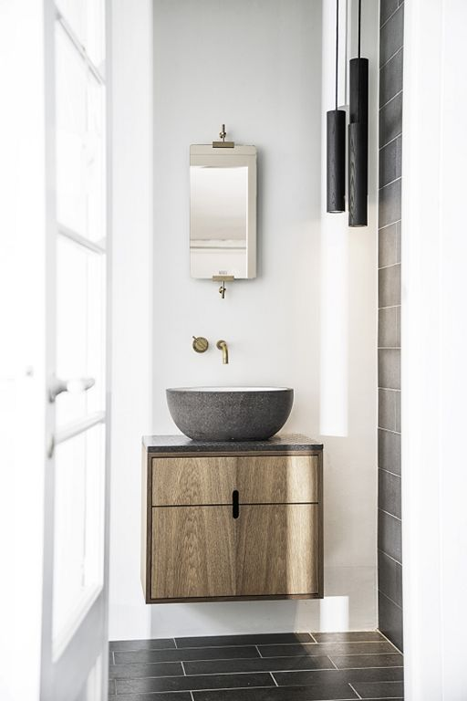 Like The Color Combo Of Wood And Mid Grey Countertop But Not The Vessel Sink Vanities Modern