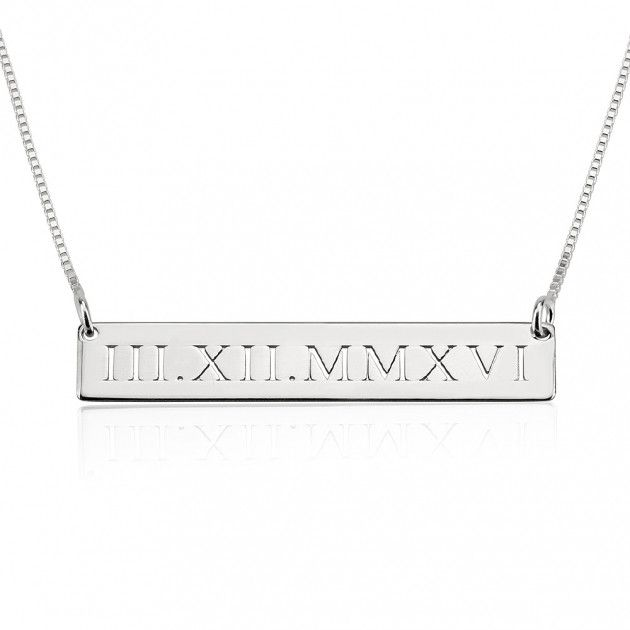 Obsessed w this, 16 inch length for me-- Sterling Silver Roman Numeral Engraved Bar Necklace