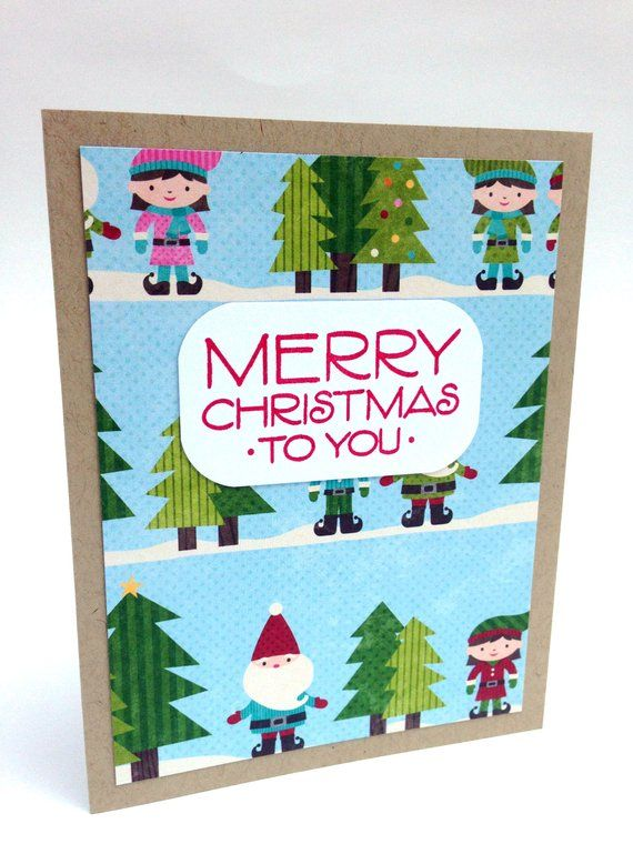 Hand Stamped Elf Christmas Cards Boxed Set - Blue and Red Boxed