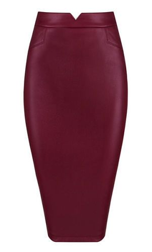 Wilma Burgundy Faux Leather Skirt                                                                                                                                                                                 Mais