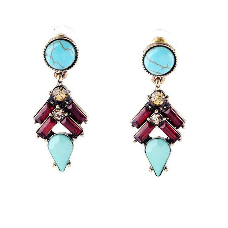 Fashion Drop Earrings - Yezxa Stylish Imitation Ruby & Natural Turquoise Stone  Short Drop Earrings