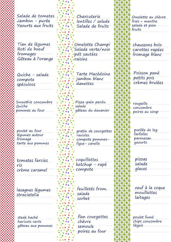 Proposition de menus tambouille