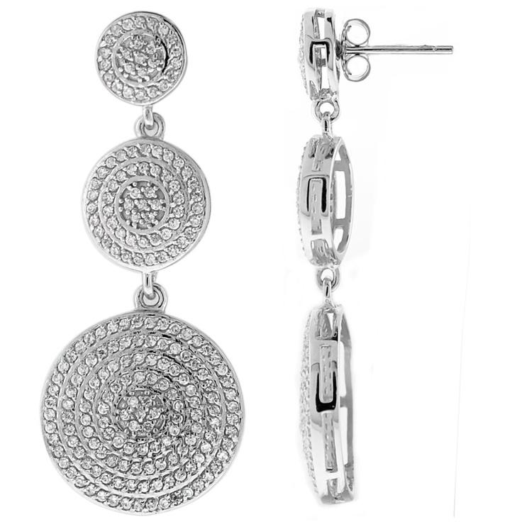 Boucles triple-cercles argent 925 rhodié  et  oxyde zirconium blanc. Prix: 83€