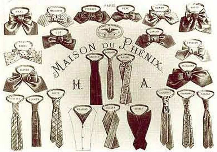 We have to establish the fact that there are more types of ties: simple tie, ascot tie, bow tie, clip-on tie, bolo tie, zipper tie and cravat. The modern necktie, ascot and clip-on tie derived from the cravat. http://www.london-businesses.co.uk/a-short-history-of-ties/