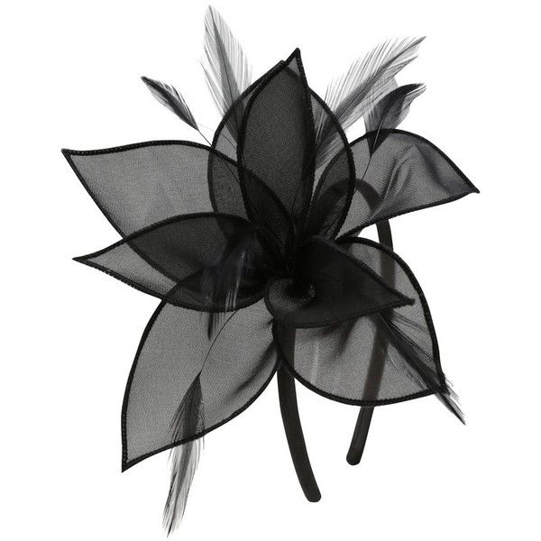 M&Co Black Organza Flower Fascinator ($13) ❤ liked on Polyvore featuring accessories, hair accessories, black, feather hair accessories, fascinator hat, feather fascinator, hair fascinators and flower fascinator