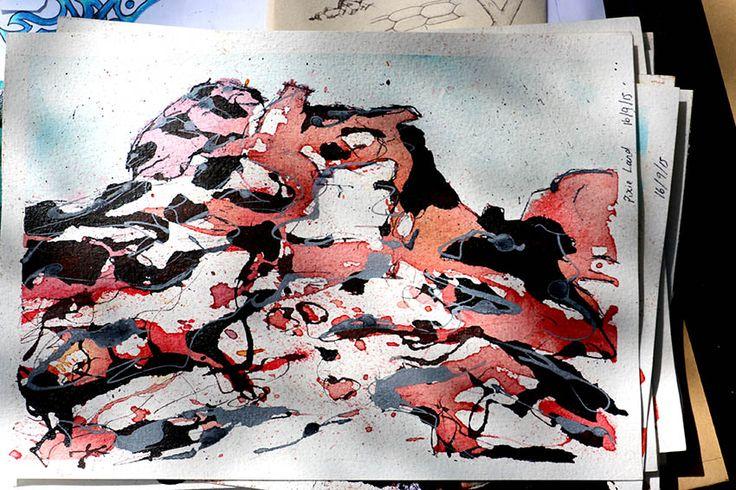 Rock Formation by Jennifer O'Hara Illara (Illarari), Central Australia  Ink and pen