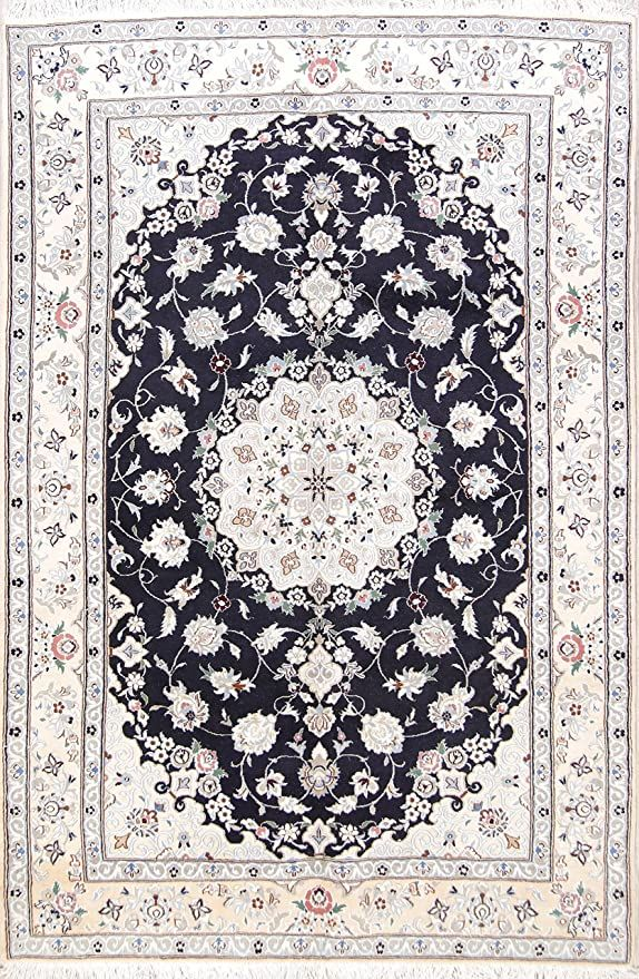 Rug Source One Of A Kind New Nain Traditional Medallion Hand Knotted 6x10 Blue Wool Silk Persian Area Rug 9 7 Quot X Silk Area Rugs Area Rugs Wool Area Rugs