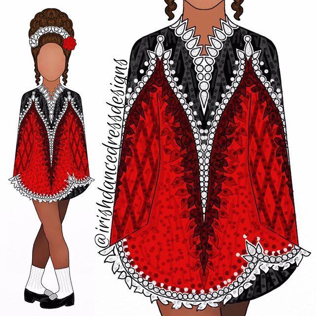 Design 819 Red Black And White For Tara Ob14 Irishdancedressdesigns Irish Dance Dress Designs Irish Dance Solo Dress Irish Dancing Dresses