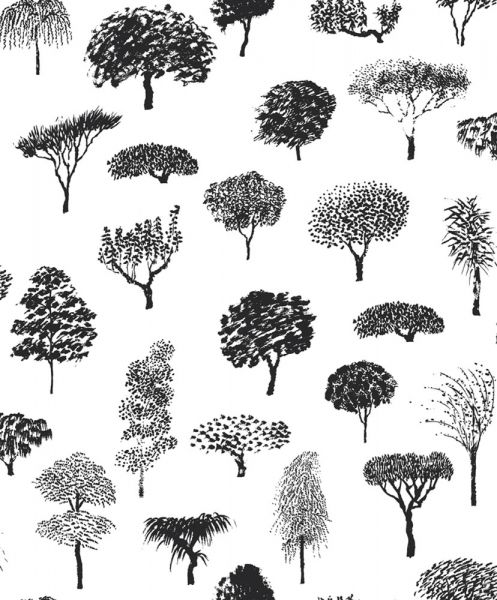 Superfin trädmönstrad tapet i svartvitt från kollektionen Marimekko 4 17950. Klicka för att se fler inspirerande tapeter för ditt hem!