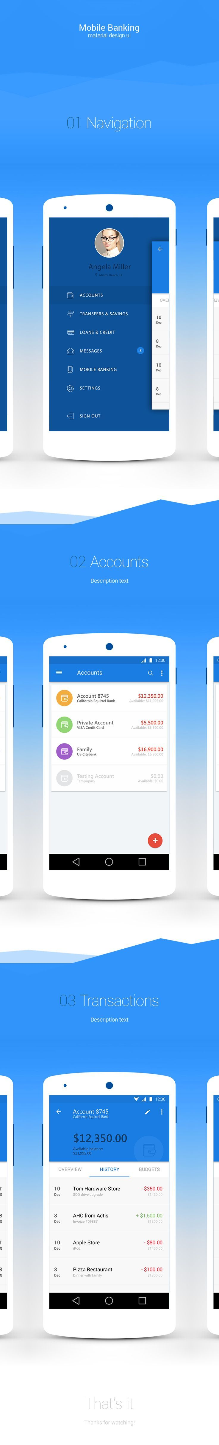 Mobile banking app UI. If you like UX, design, or design thinking, check out theuxblog.com