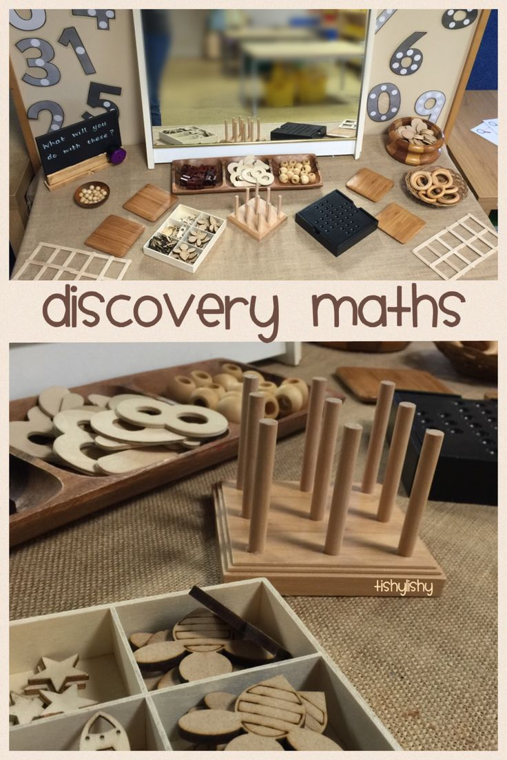 Open ended maths invitation using natural resources.