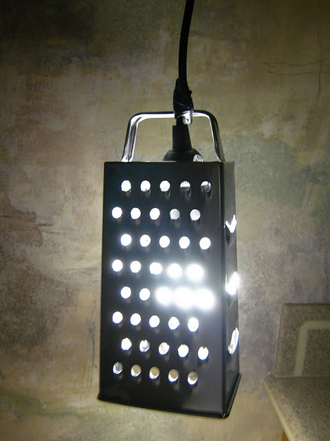 cheese grater lightCrafts Ideas, Grater Lamps, Lights Shades, Cheese Grater, Chees Grater, Ikea Hacks, Grater Lights, Ikea Hackers, Diy