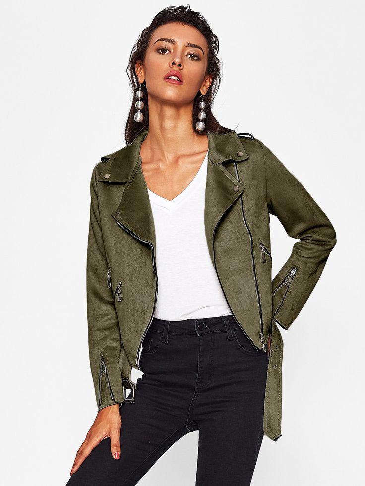 Shop Suede Raw Trim Belted Biker Jacket online. SheIn offers Suede Raw Trim Belted Biker Jacket & more to fit your fashionable needs.