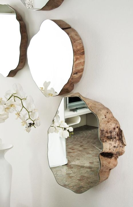 Wood encrusted mirror decal for wall interior decor. Add a classic touch to your rustic home.