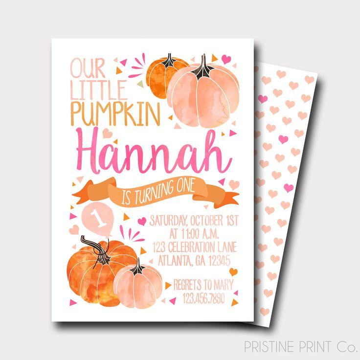 Pumpkin Birthday Invitation | Our Little Pumpkin Invitation | First Birthday Invitation | Fall Birthday Invitation | Pumpkin Baby Shower by PristinePrintCo on Etsy https://www.etsy.com/listing/474798917/pumpkin-birthday-invitation-our-little