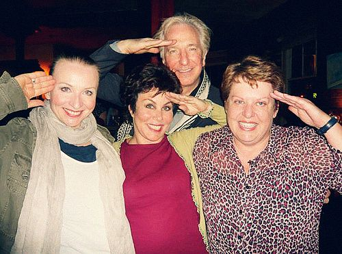 """May 29, 2011 -- Alan Rickman and Ruby Wax (in pink) with two others after a """"Salute the Troops"""" benefit."""