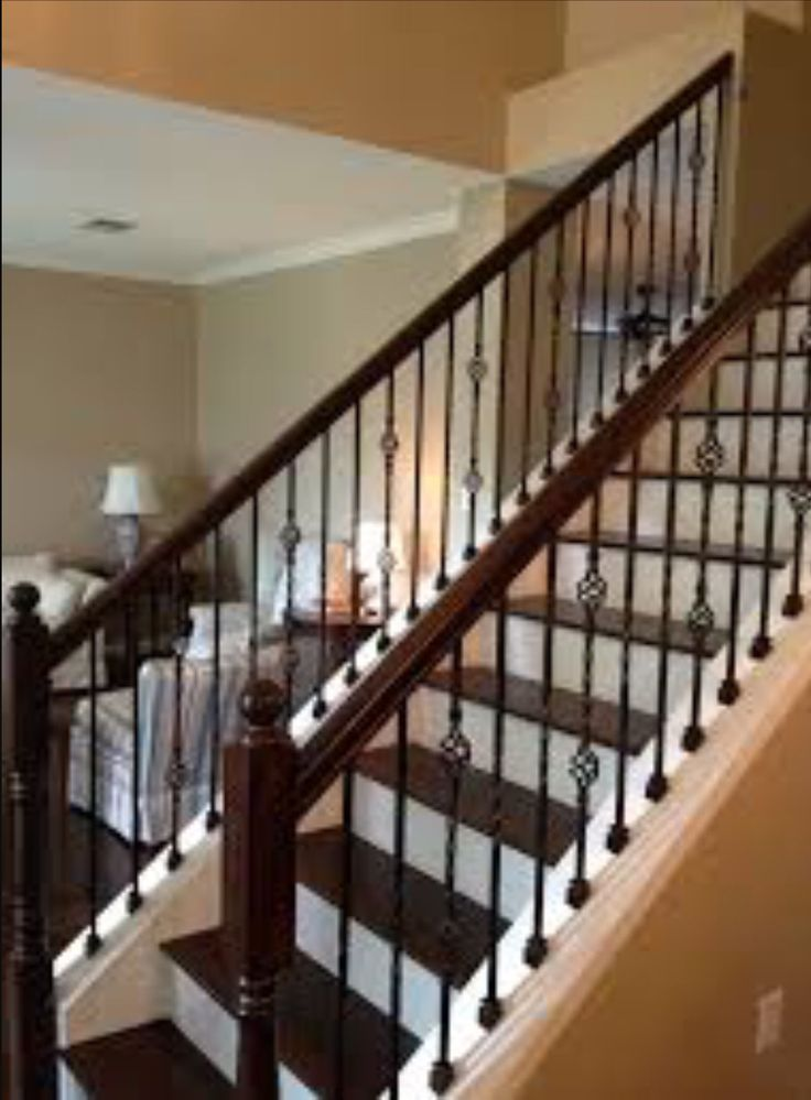 Marvelous Wrought Iron Balusters At Stairs With Wood Treads