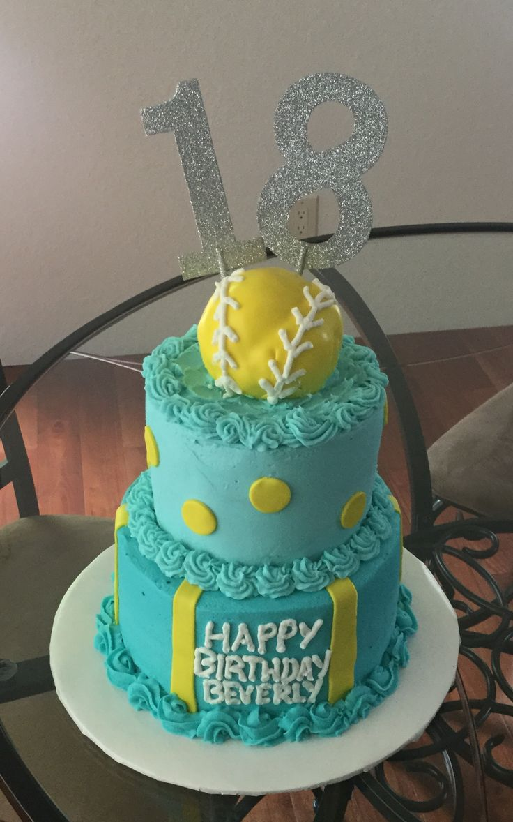 Softball Birthday Cake / Handmade By Cindy Babich 2016